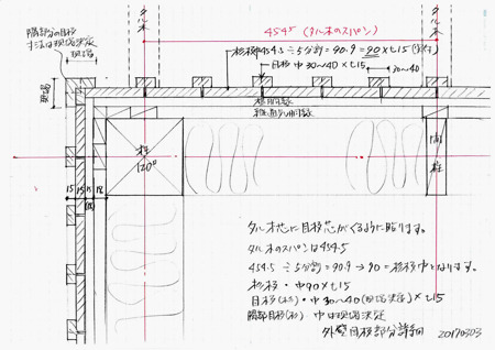 外壁杉板と目板の納まり詳細図20170303.jpg